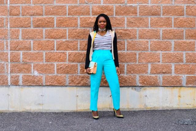 Befitting Style Oyinkan Wearing Embellished Cardigan Light Blue Pants NYFW FW17 Day 5 7