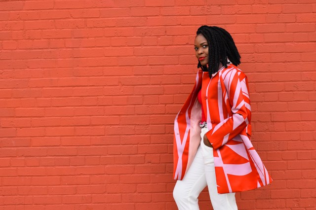 Befitting Style Oyinkan Wearing Jil Sander Red Pink Jacket Red Turtleneck Valentine's Day Look NYFW FW17 Day 6 6
