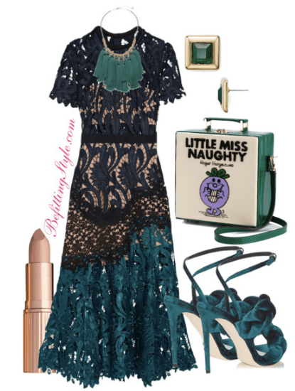 Transition Into Spring Lace Midnight Blue Emerald Green Dress Befitting Style