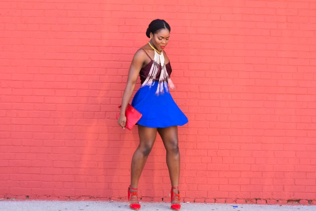 Befitting Style Simple & Chic | Brunch | Blue Flare Skirt + Brown Cami