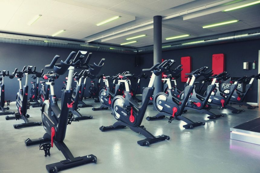 exercise bikes in a fitness room
