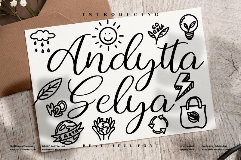 Andytta Selya Script Font