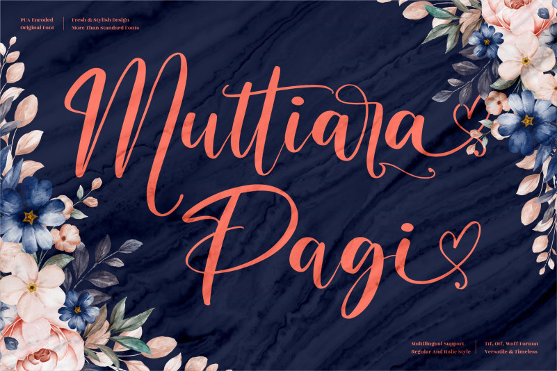 Muttiara Pagi Calligraphy Font
