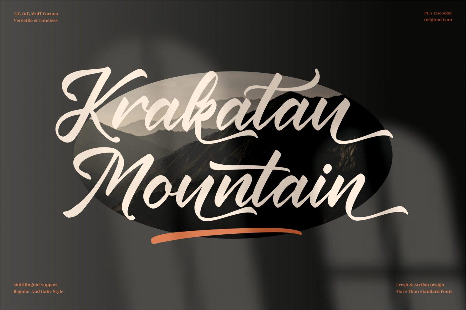 Krakatau Mountain Script Font