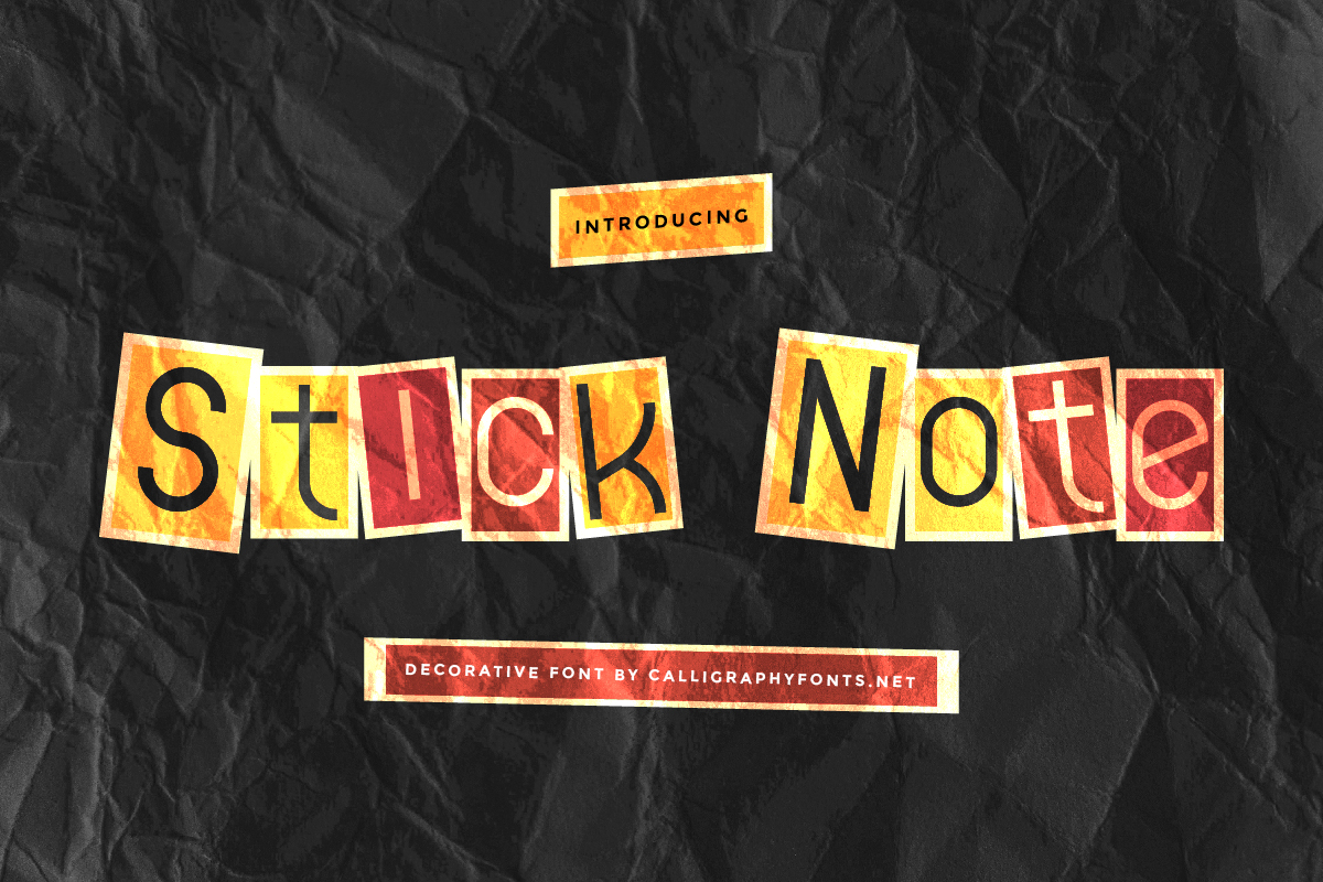 Stick Note Display Font