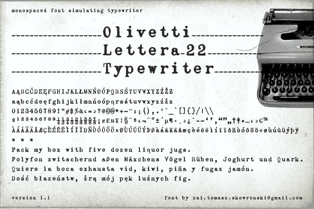 Olivetti Lettera 22 Font