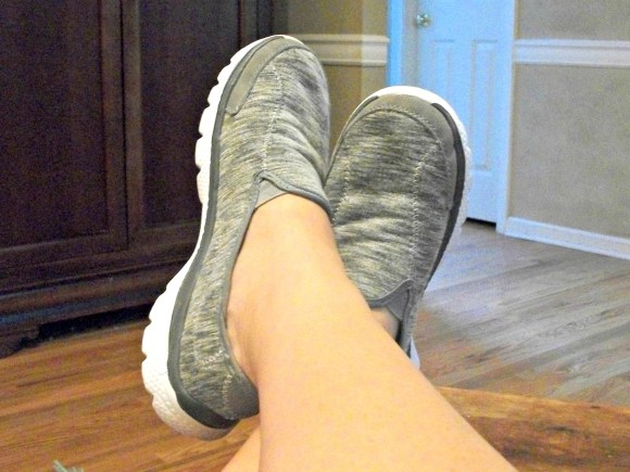 Close up gray memory foam shoes