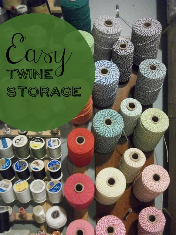 Simple twine storage using scrap wood and long nails or screws.