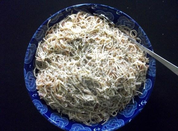 Super easy pasta carbonara using Emeril Lagasse's recipe. www.Before3pm.com