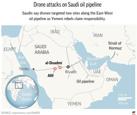 Drone attacks on Saudi Pipeline