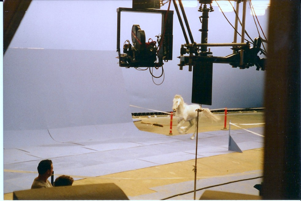 A horse running at speed, with the PhotoSonics high-speed camera on a crane.