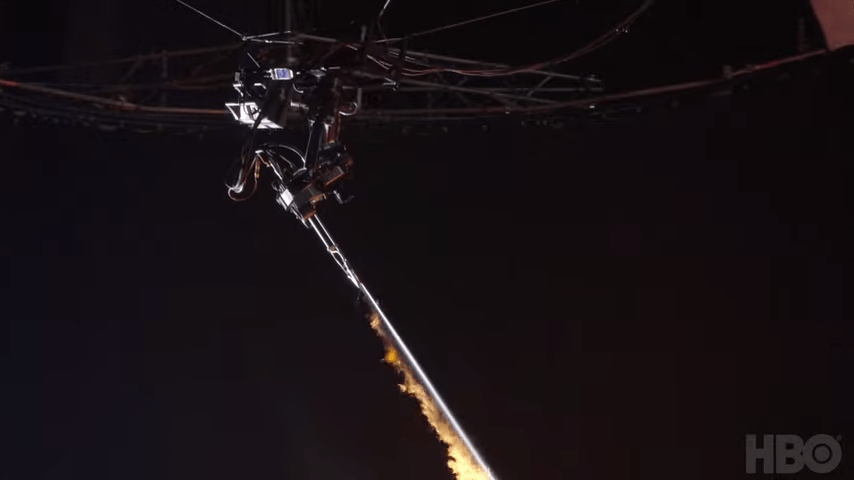 flame thrower attached to a Spider-cam