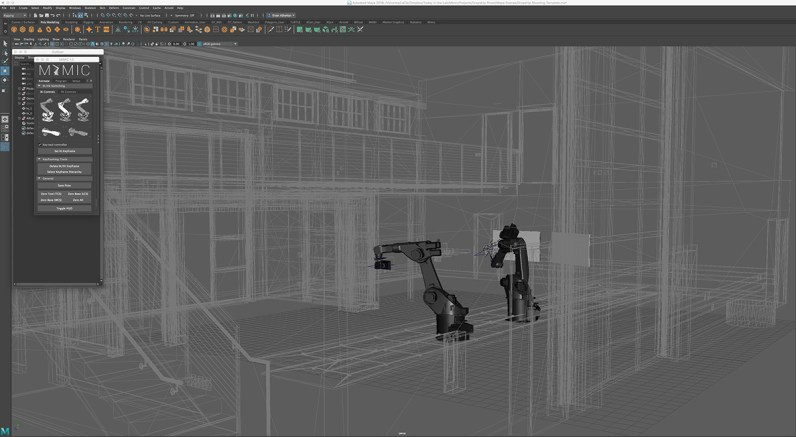 Maya screenshot showing a view of the robots