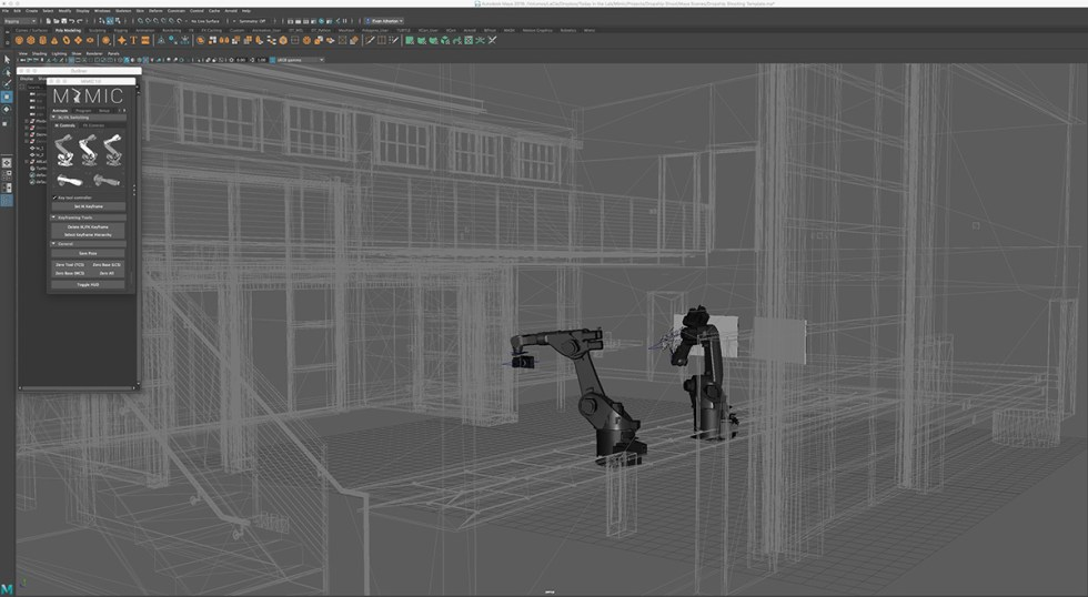Maya screenshot showing a view of the robots