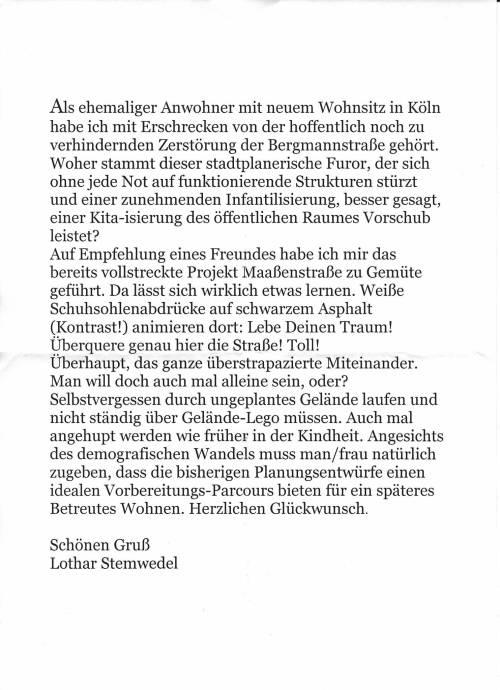 BegegnungBergmann 16095 - Brief von Lothar Stemwedel an Lutz St