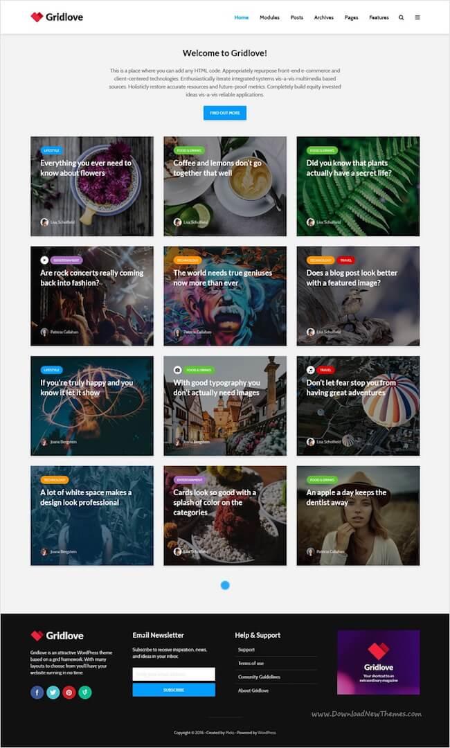 Gridlove Pinterest Style WordPress Theme