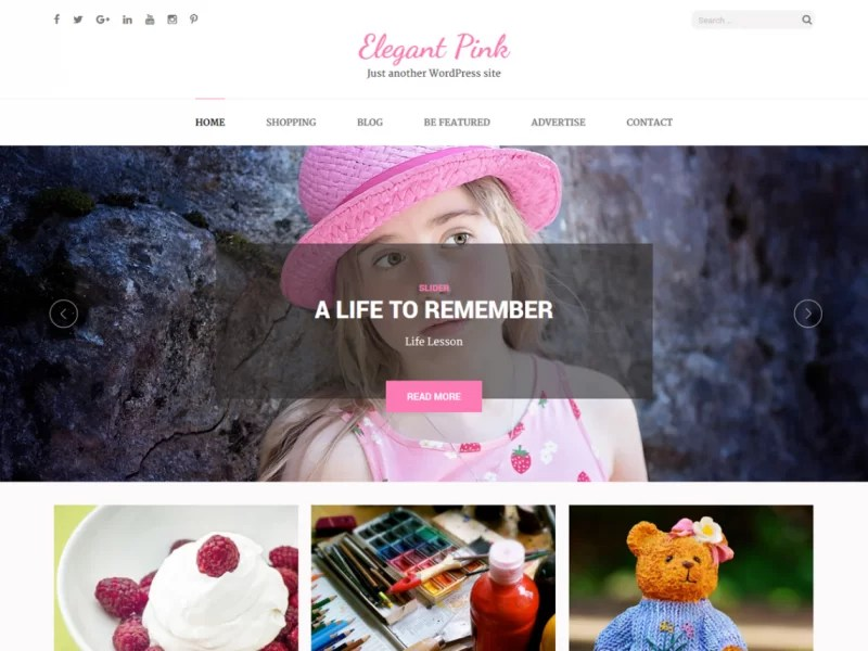 ELEGANT PINK Free Pinterest Style WordPress Theme