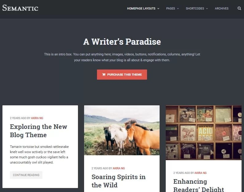SEMANTIC Pinterest Style WordPress Theme