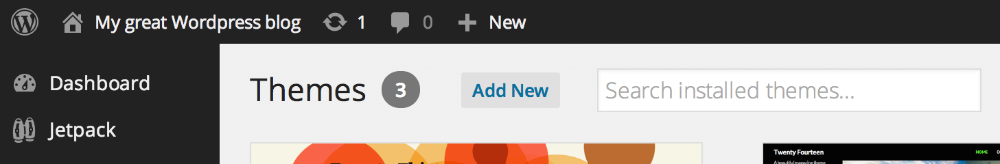 Add New theme button