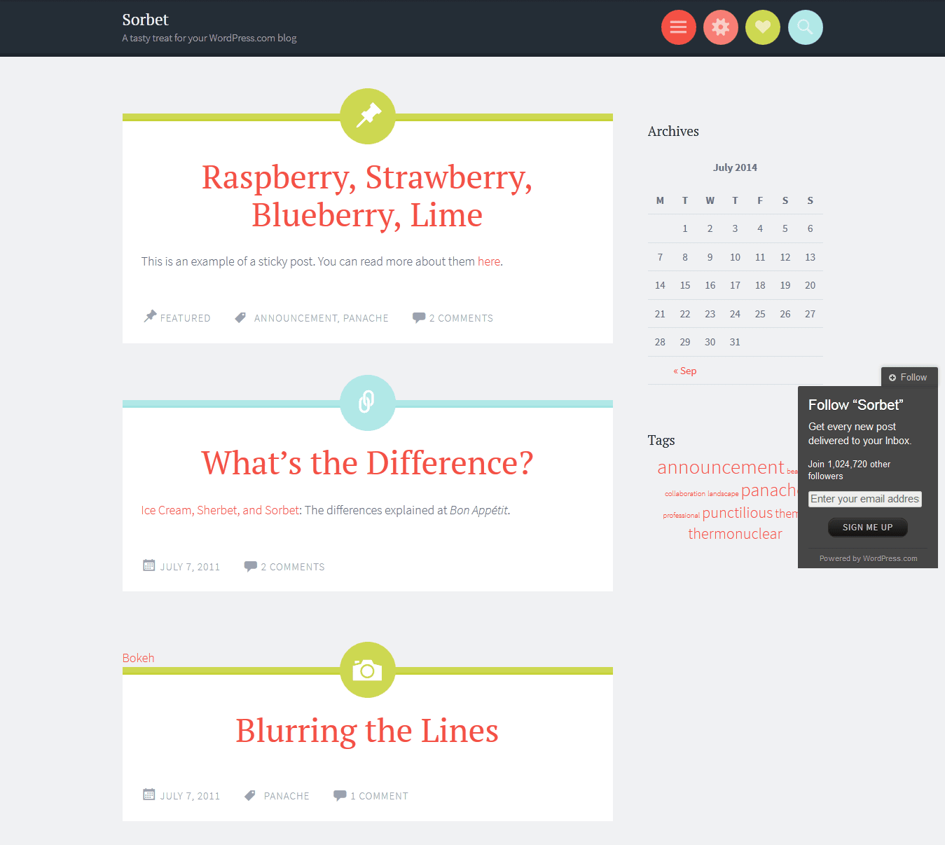 Sorbet WordPress Theme