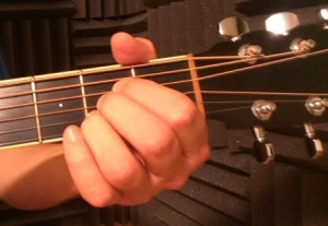 A major guitar chord front view