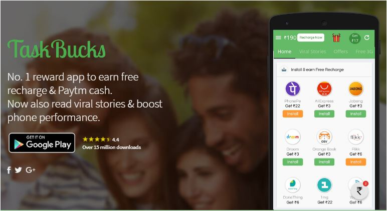 Taskbucks app | Get Free Recharge on Your Paytm Wallet And Mobile