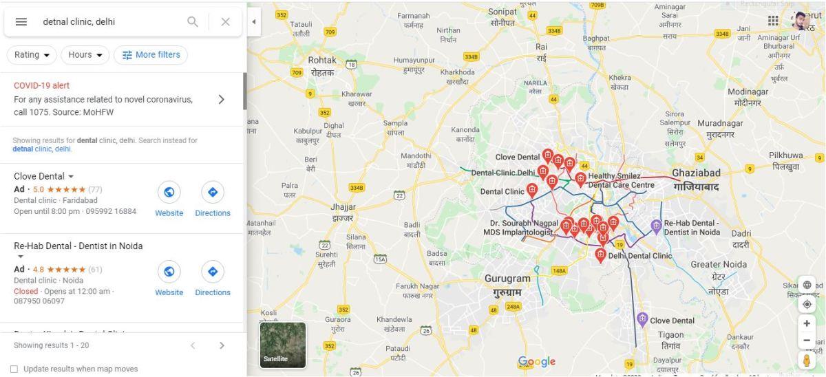 Google Map Search for Dental Clinic, Delhi