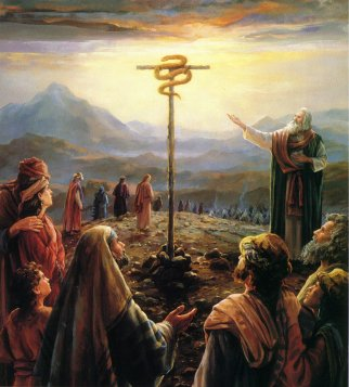 Moses with the Brass serpent | Foreshadows of Jesus Christ in the Bible.