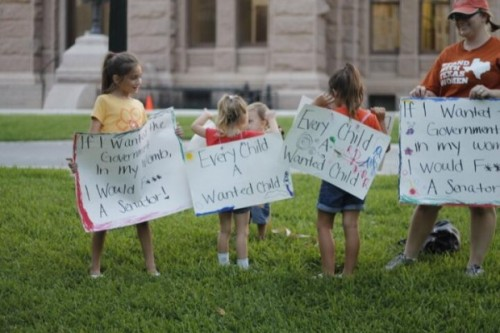 The pro-abortion activists even enlisted children to help their cause.