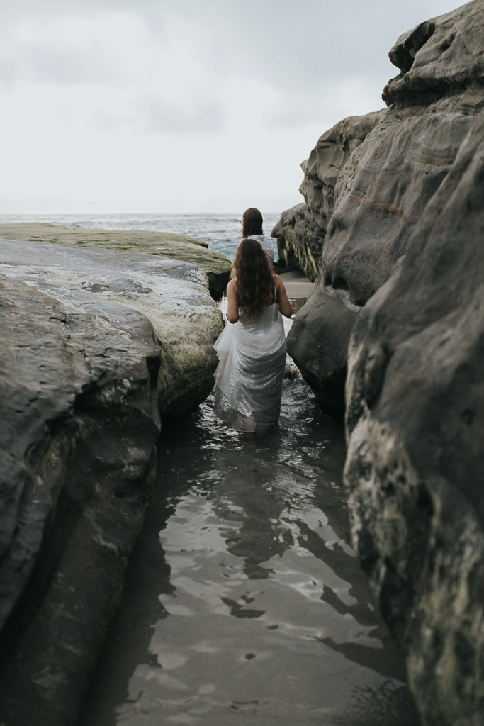 Bride and groom on their elopeemt day in La Jolla, California.