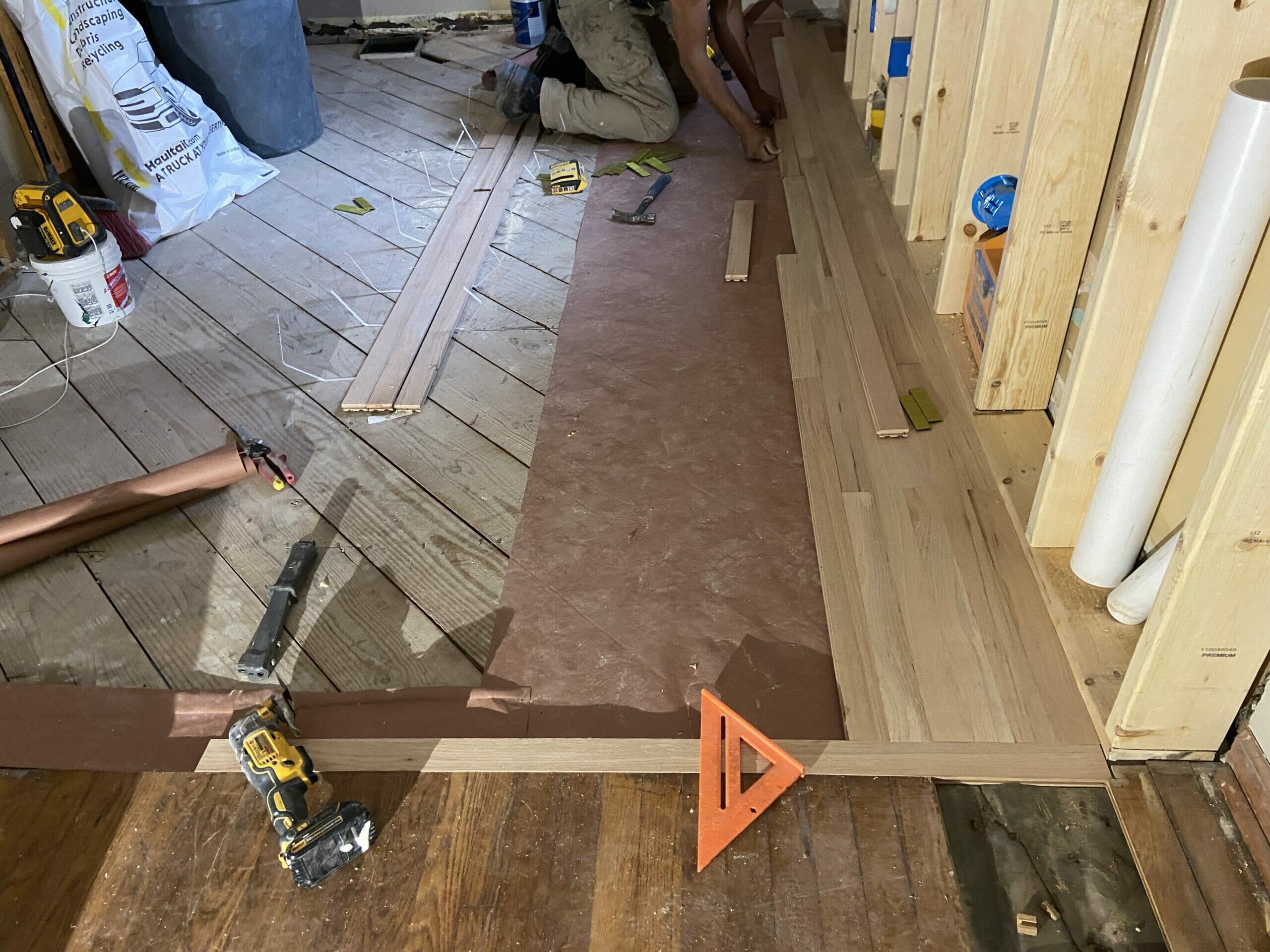 hardwood flooring at white cape cottage