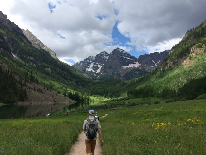 A on the trail to the Maroon Bells
