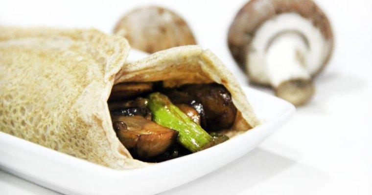Crepes veganos salados de trigueros y setas portobello