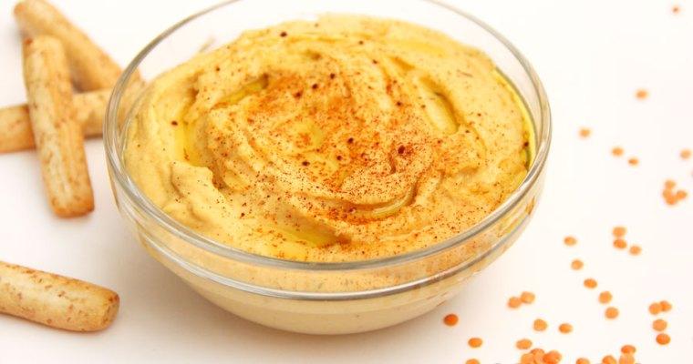 Hummus de lentejas rojas