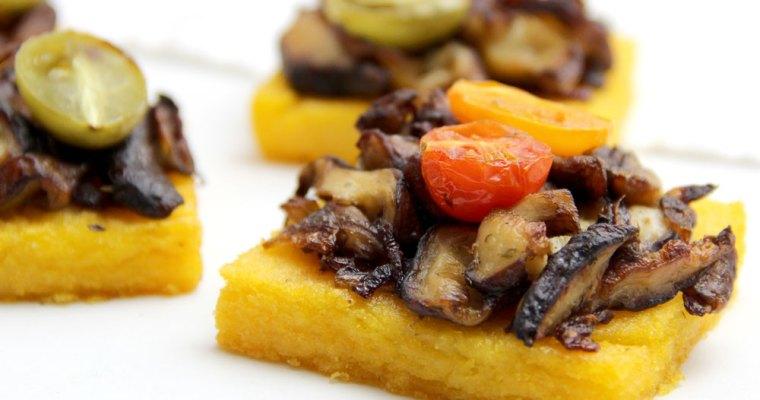 Polenta al horno con setas shiitake