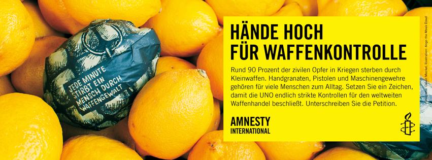 Amnesty International - Hände hoch für Waffenkontrolle