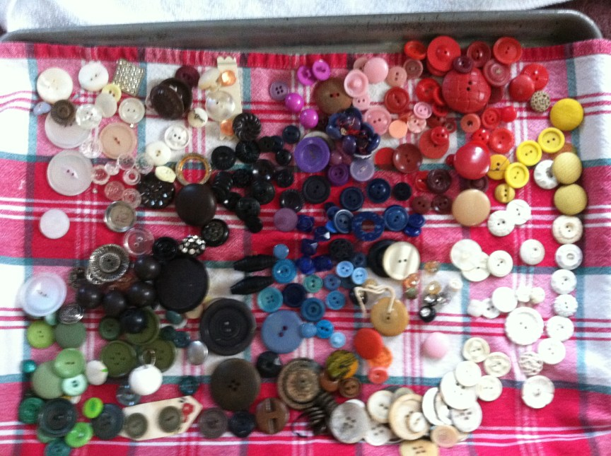 an array of color-sorted buttons drying on a kitchen towel