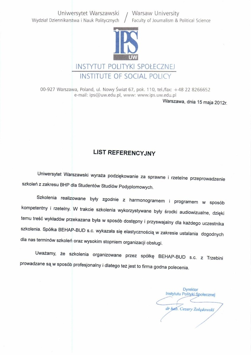 Referencje - Uniwersytet Warszawski