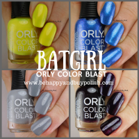 Batgirl Orly Color Blast nail polish set swatches + review