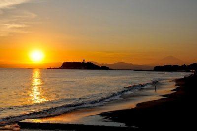 七里ガ浜の夕日1