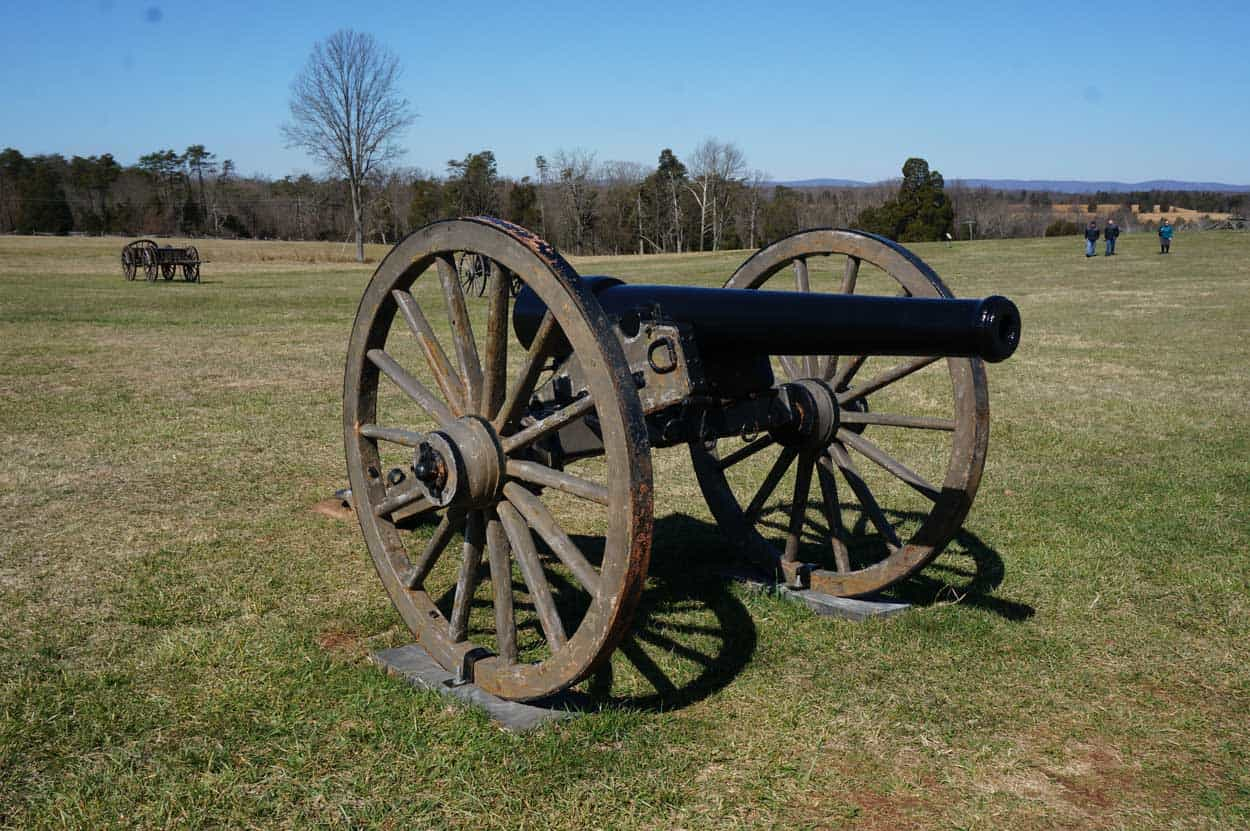 civil war cannon in field