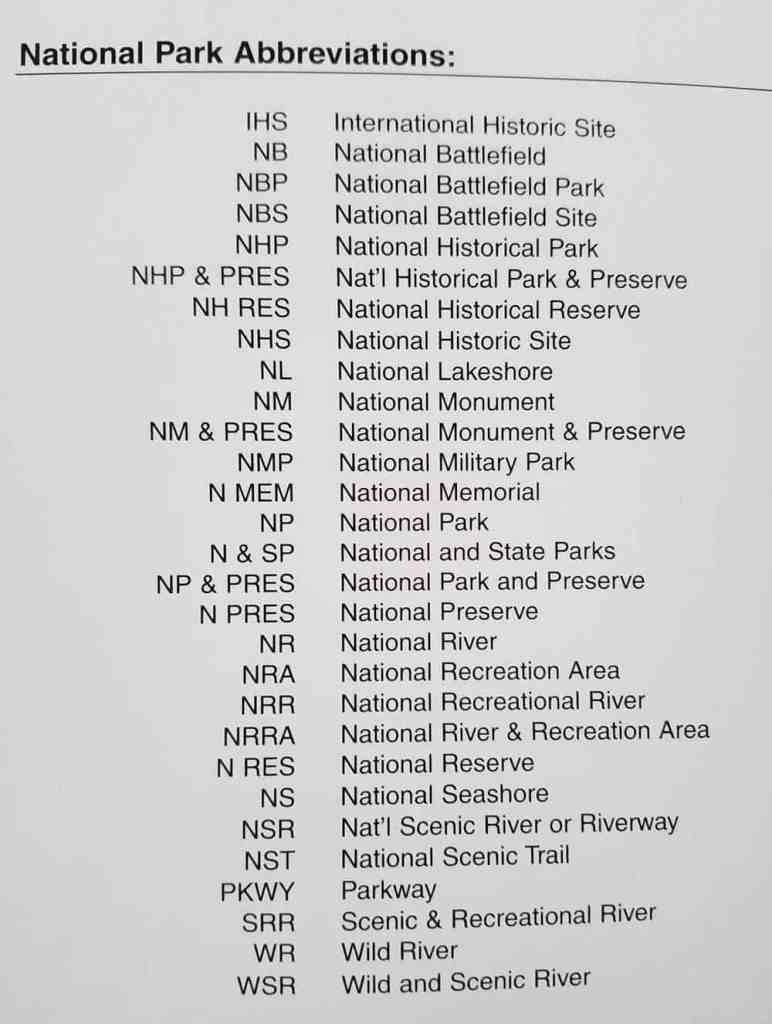 A list showing the various National Park abbreviations that are used in the National Park System.