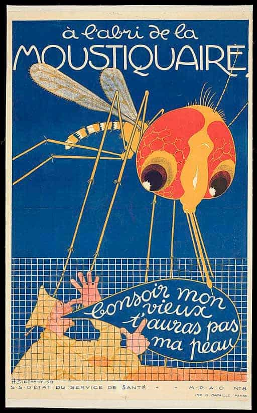 poster showing French soldier with protection from mosquito net