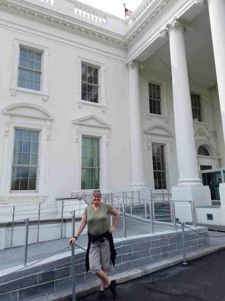 standing outside the White House on the north side