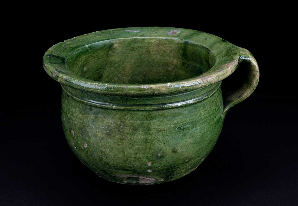 English chamber pot from 1501-1700 time period similar to those used by Pilgrims on the Mayflower