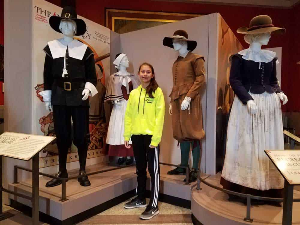 The Pilgrim Hall Museum displays typical clothing worn by the Pilgrims.