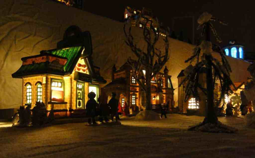 Lemax Christmas village by night