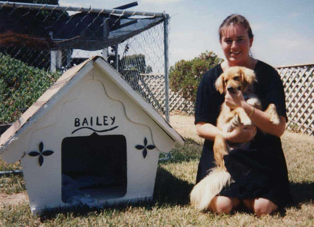 Our house came with a dog house that we painted for the new puppy.
