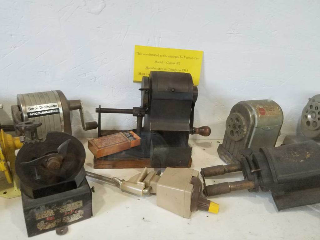 An early rotary model pencil sharpener from 1913 is included in the collection of the Paul A Johnson Pencil Sharpener Museum in Logan, Ohio.