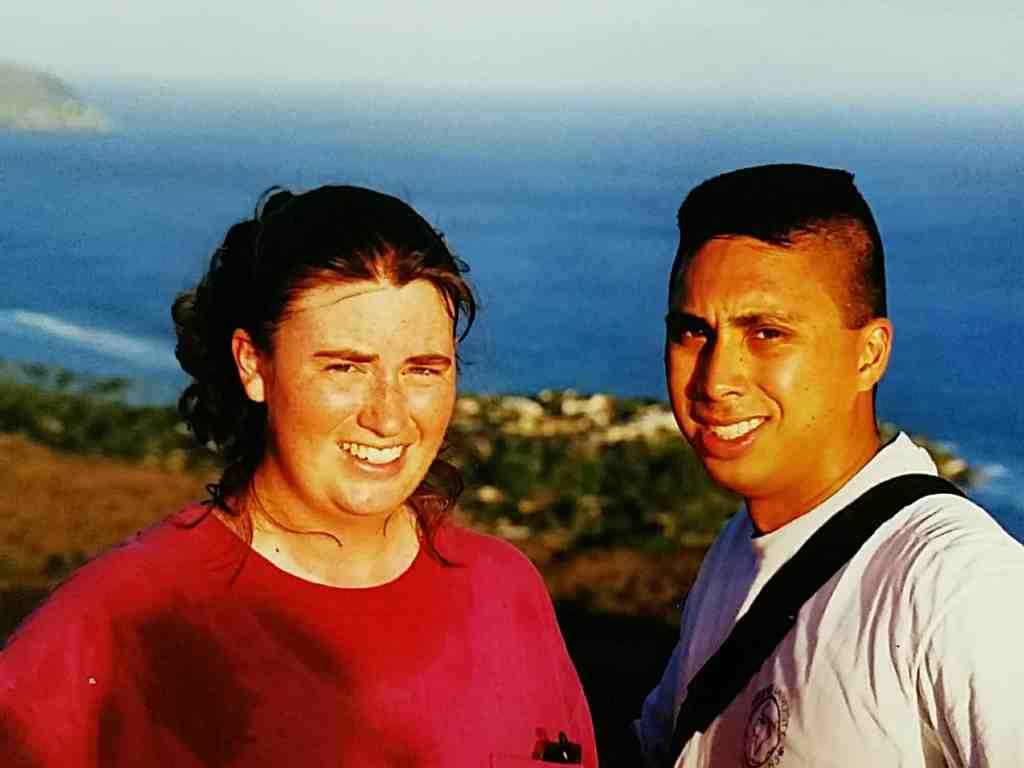 red face after running to the top of Diamond Head in Hawaii